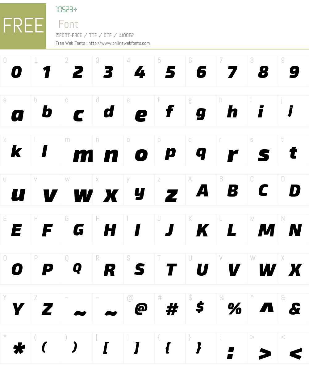 BykerW00-BlackItalic Font Screenshots