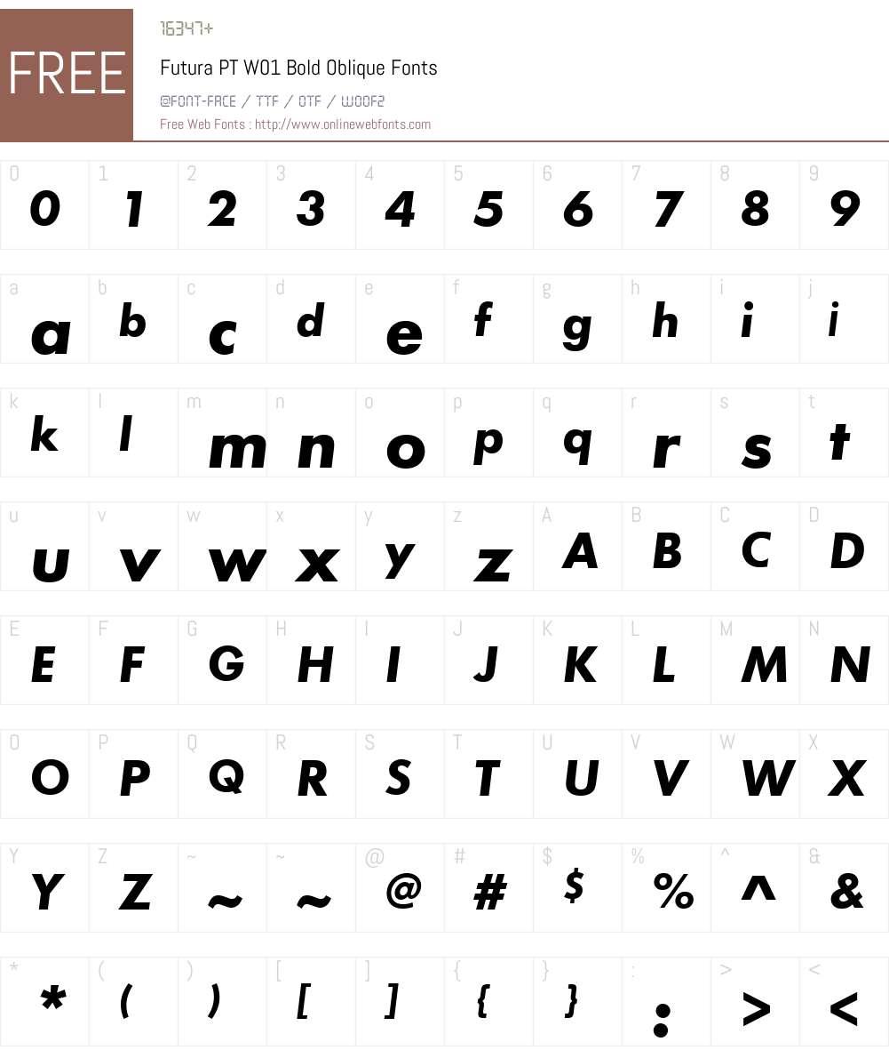 FuturaPTW01-BoldOblique Font Screenshots