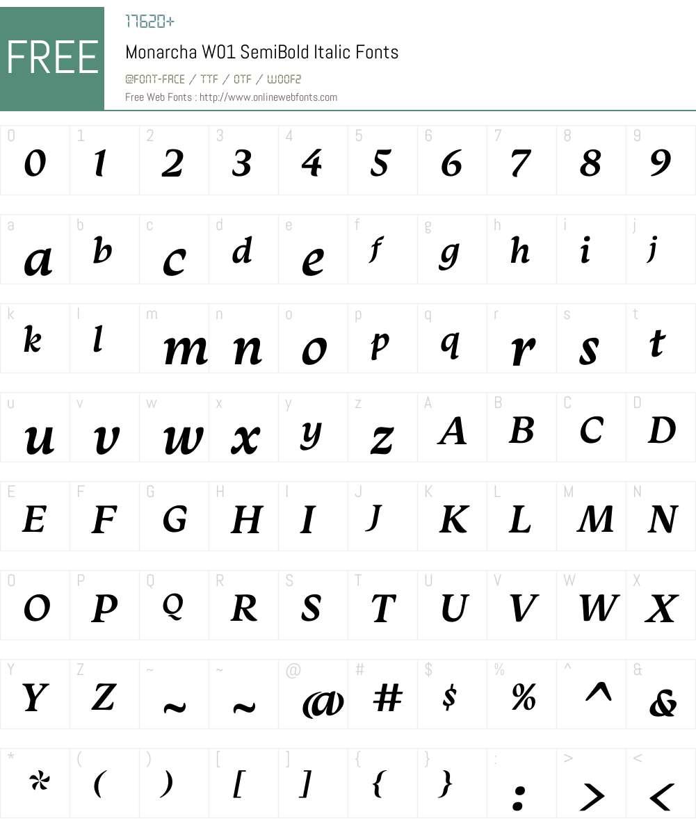 MonarchaW01-SemiBoldItalic Font Screenshots