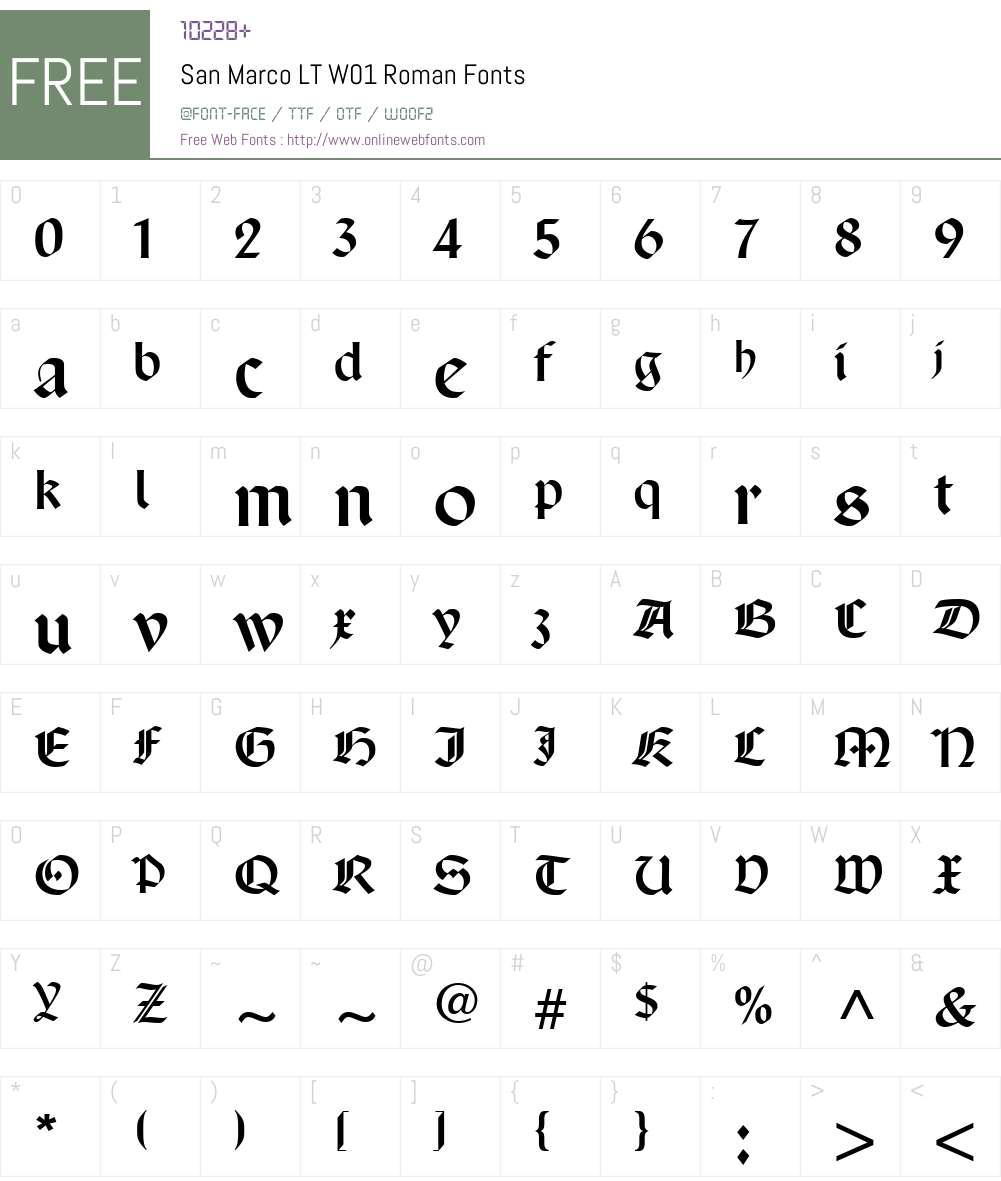 SanMarcoLTW01-Roman Font Screenshots