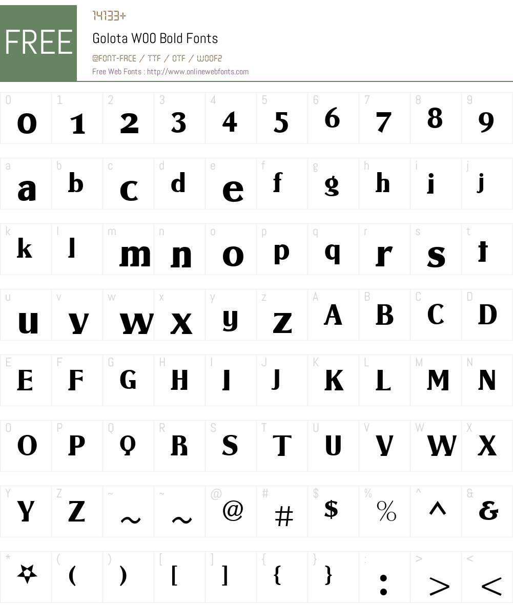 GolotaW00-Bold Font Screenshots