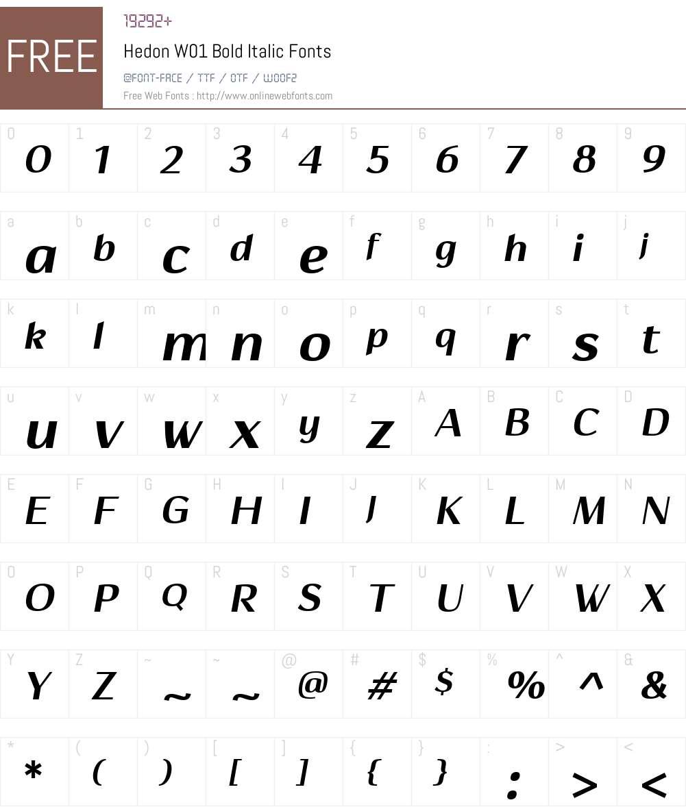 HedonW01-BoldItalic Font Screenshots