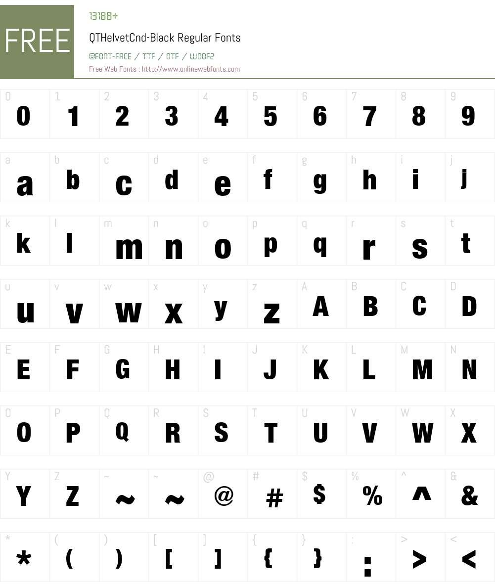 QTHelvetCnd-Black Font Screenshots