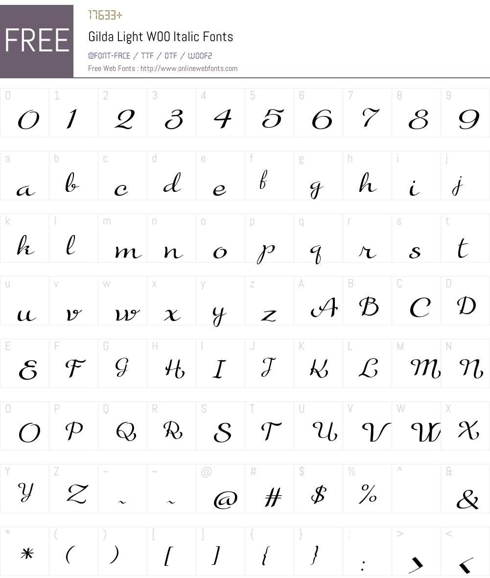 GildaLightW00-Italic Font Screenshots