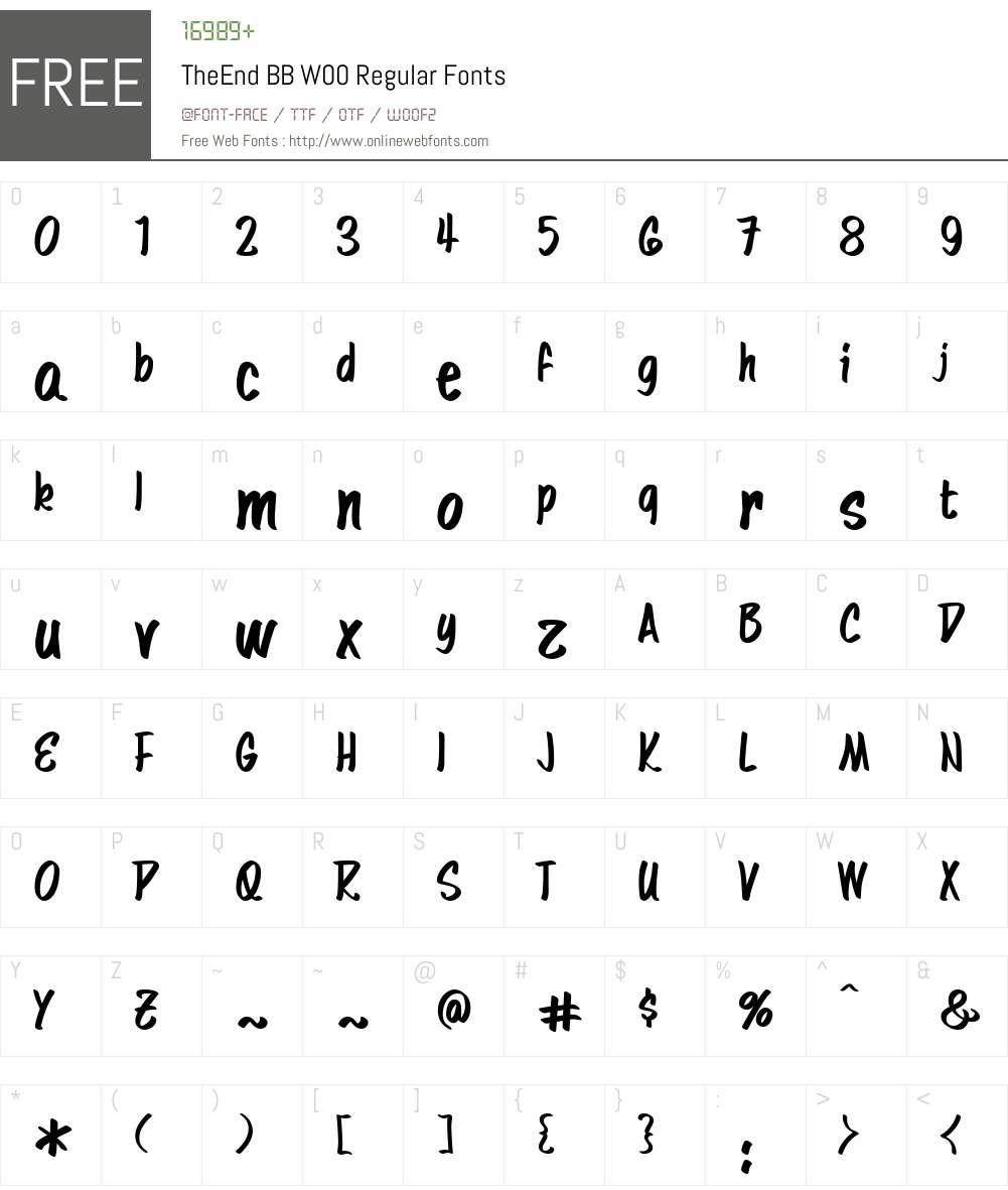 TheEnd BB Font Screenshots