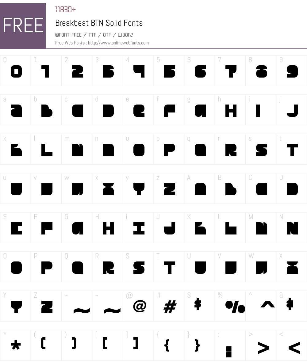 Breakbeat BTN Solid Font Screenshots