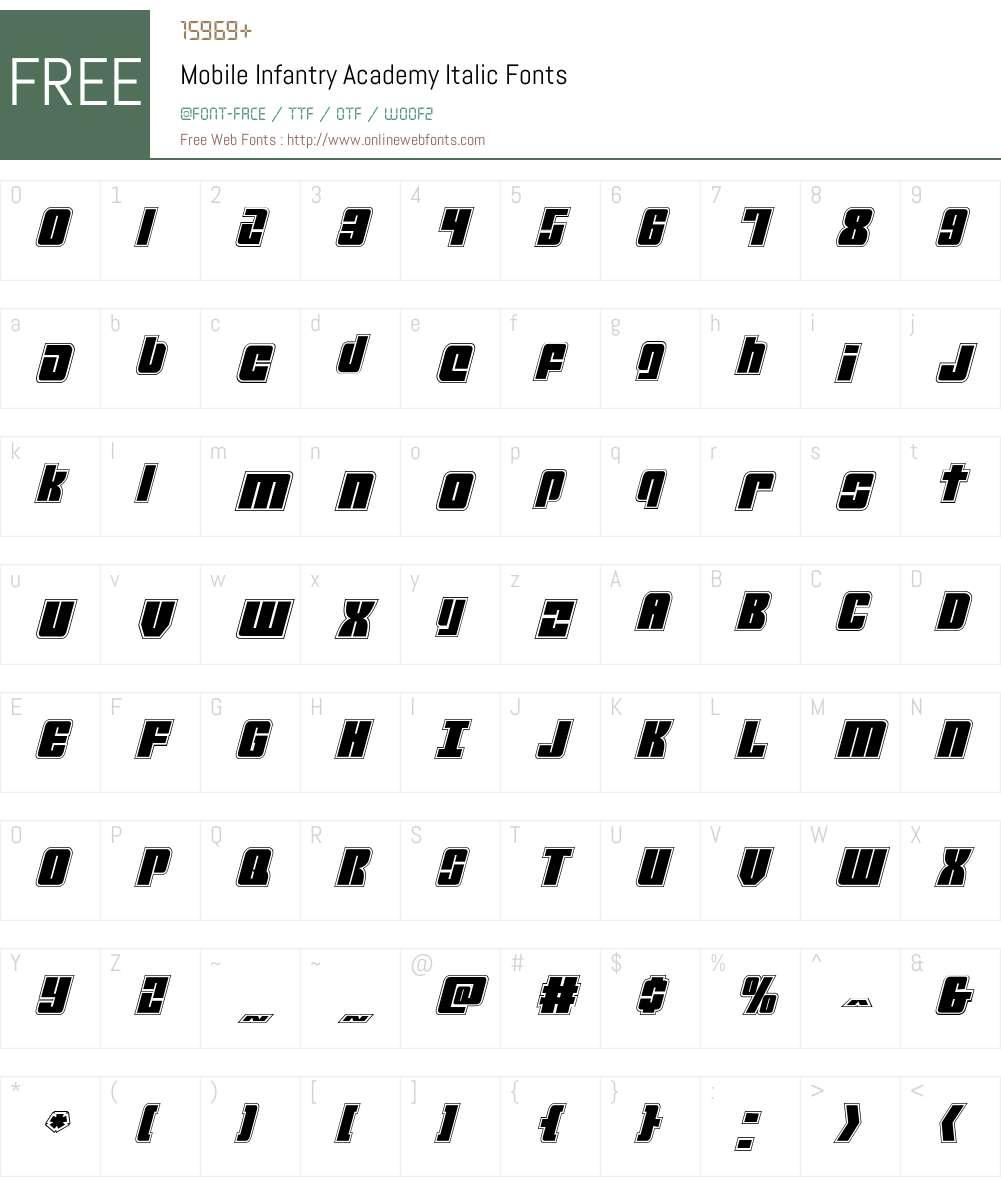 Mobile Infantry Academy Italic Font Screenshots
