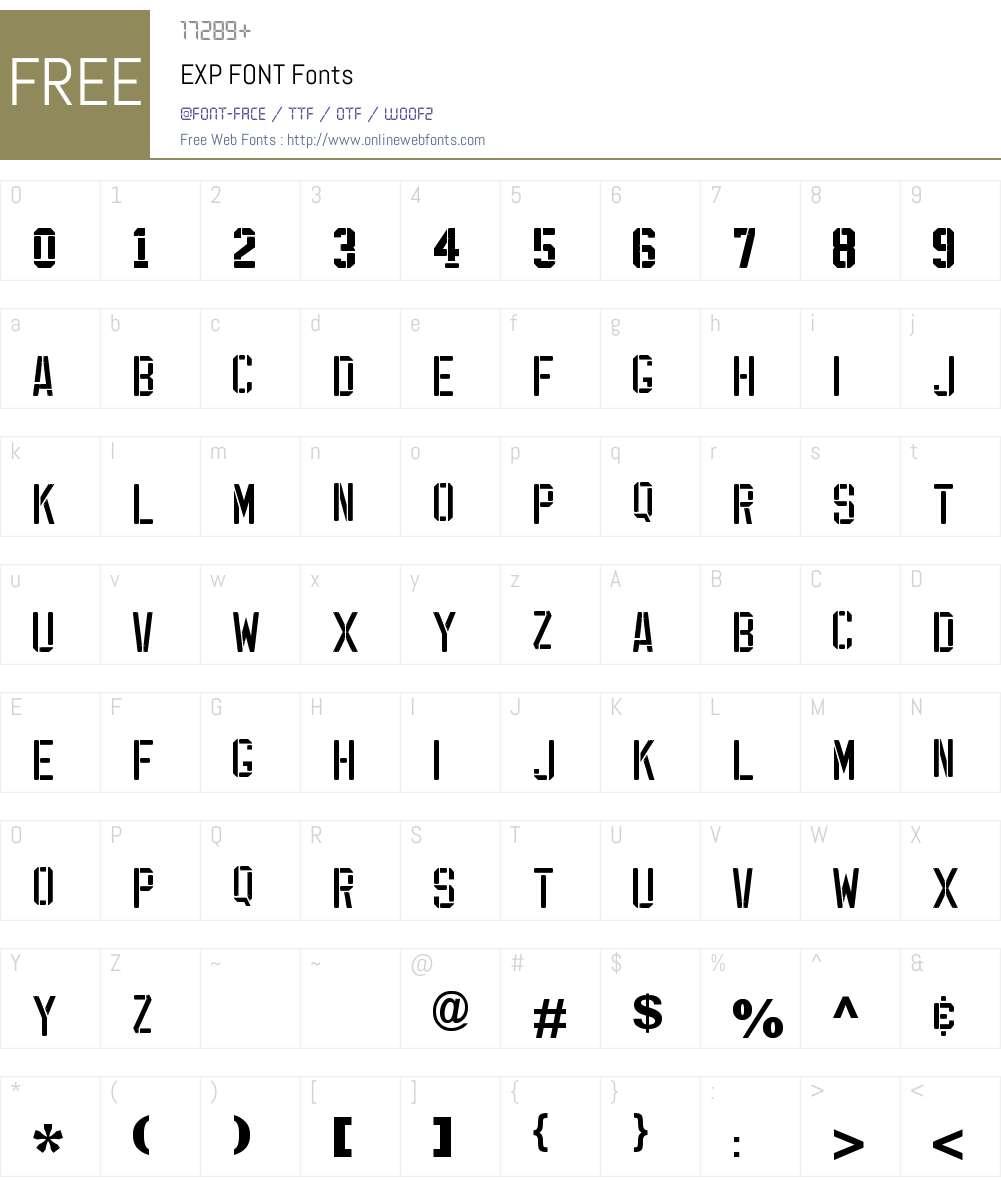 EXP FONT Font Screenshots