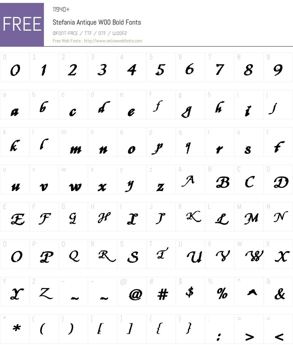 Stefania Antique Bold Font Screenshots