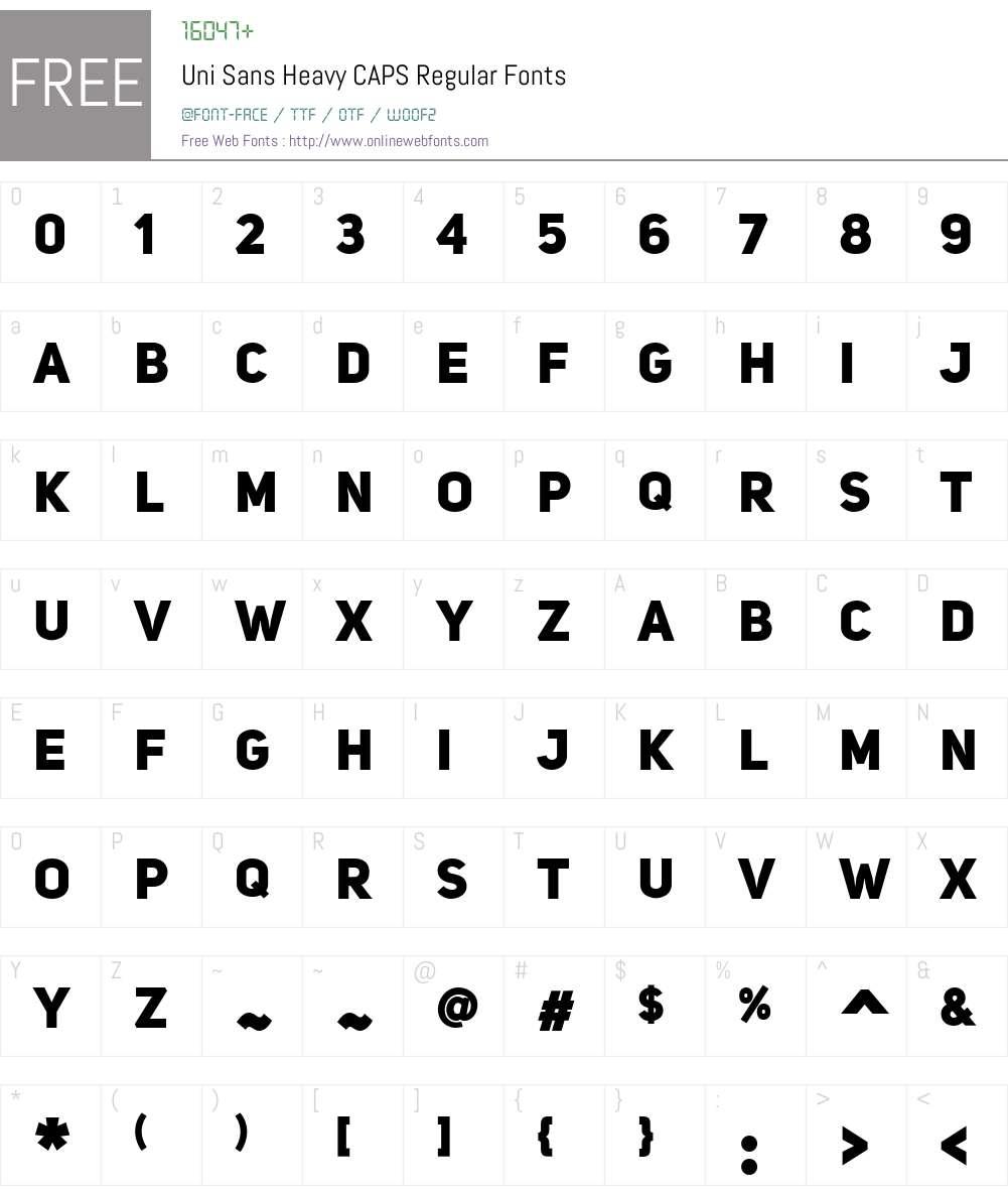 Uni Sans Heavy CAPS Font Screenshots