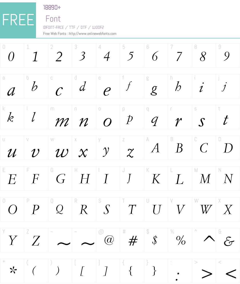 ItalianGaramondW01-Italic Font Screenshots
