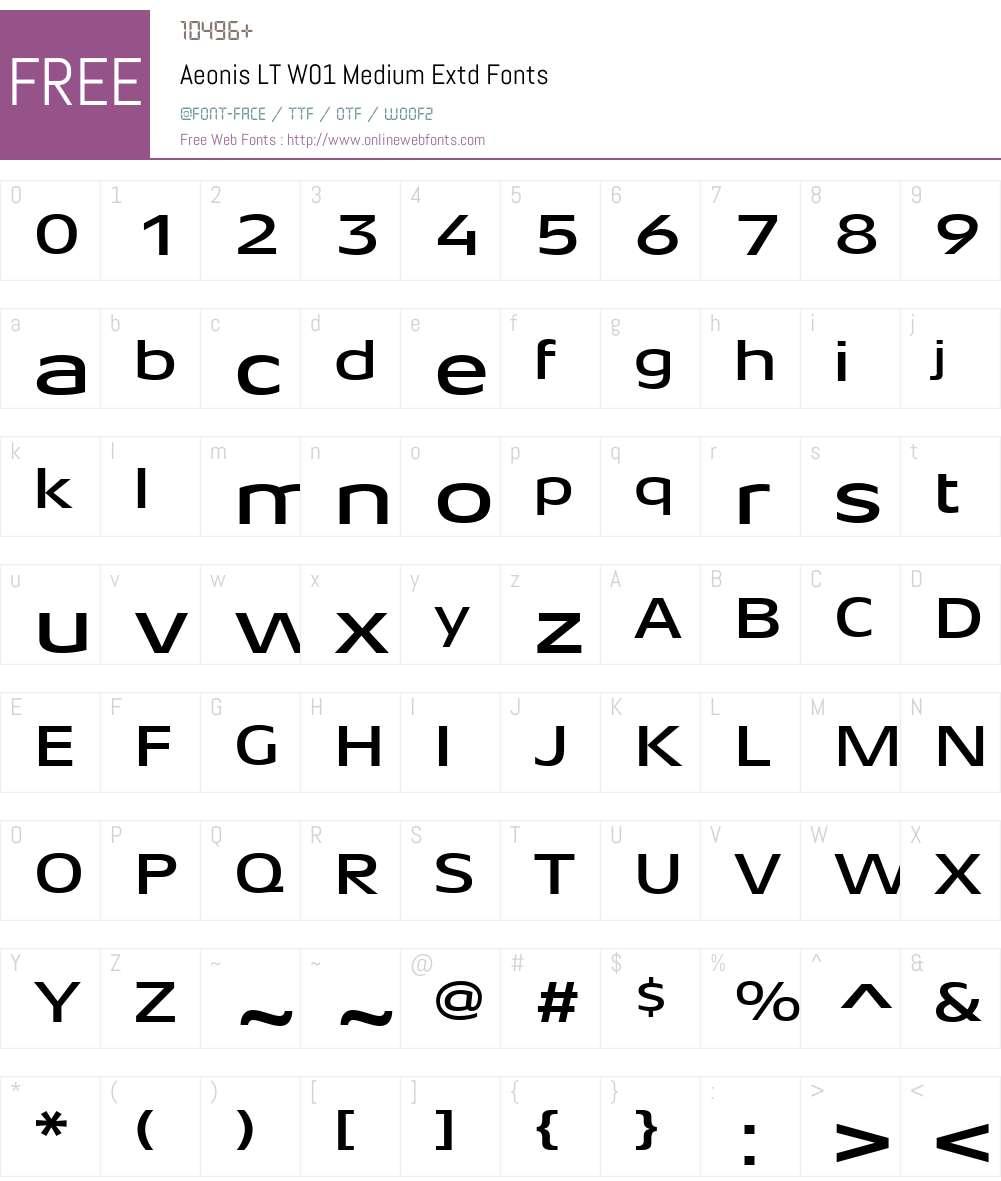 AeonisLTW01-MediumExtd Font Screenshots