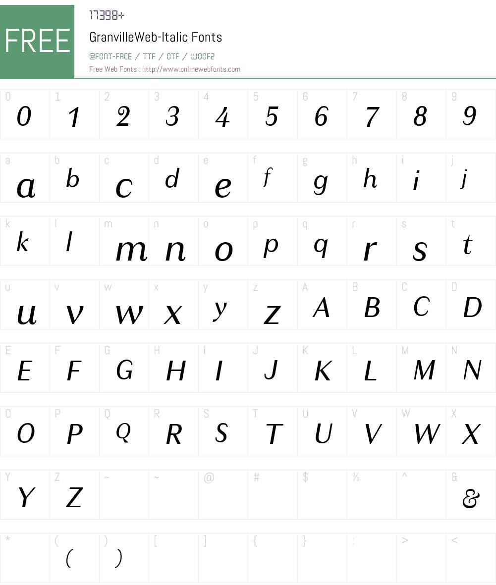 GranvilleWeb-Italic Font Screenshots