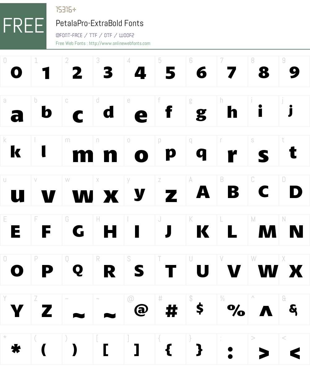 Petala Pro ExtraBold Font Screenshots