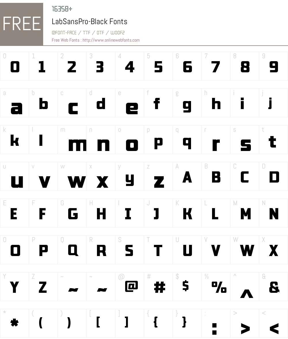Lab Sans Pro Black Font Screenshots