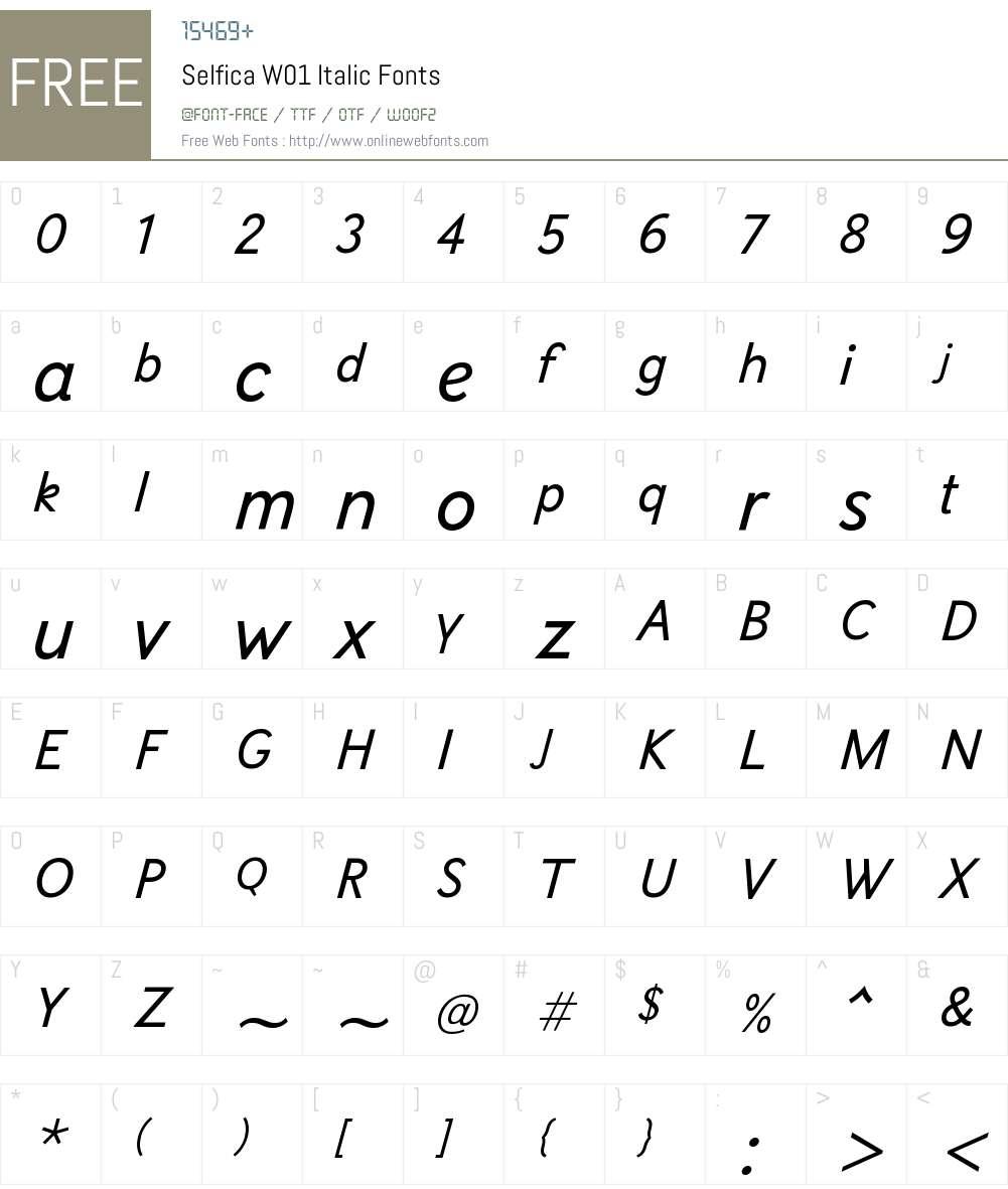 SelficaW01-Italic Font Screenshots