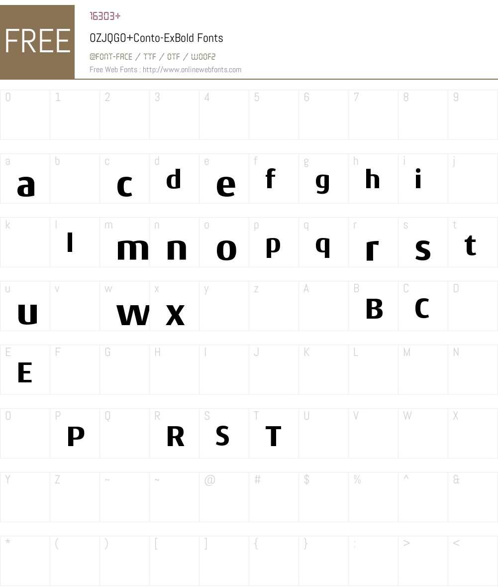 OZJQGO+Conto-ExBold Font Screenshots