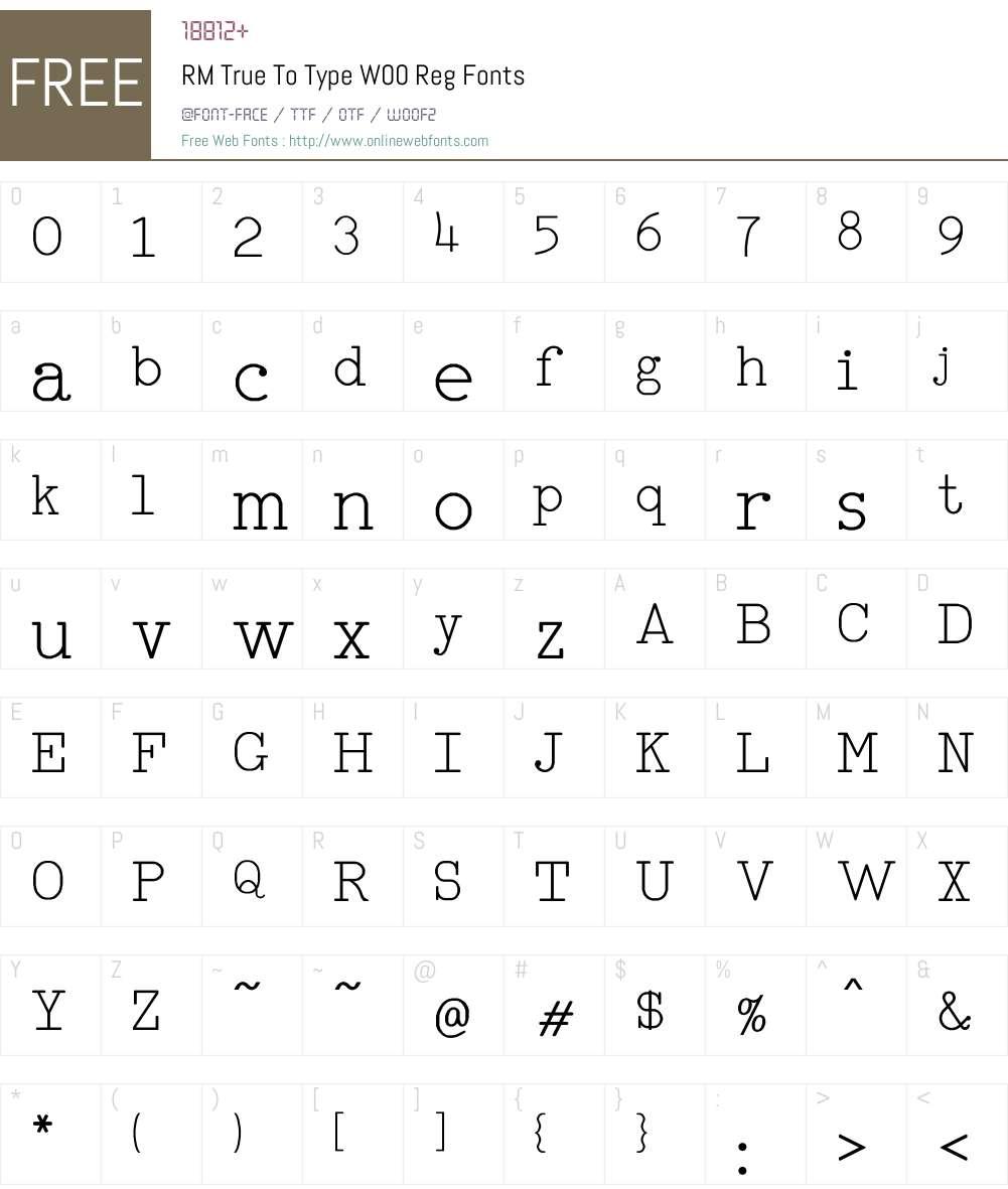 RMTrueToTypeW00-Reg Font Screenshots