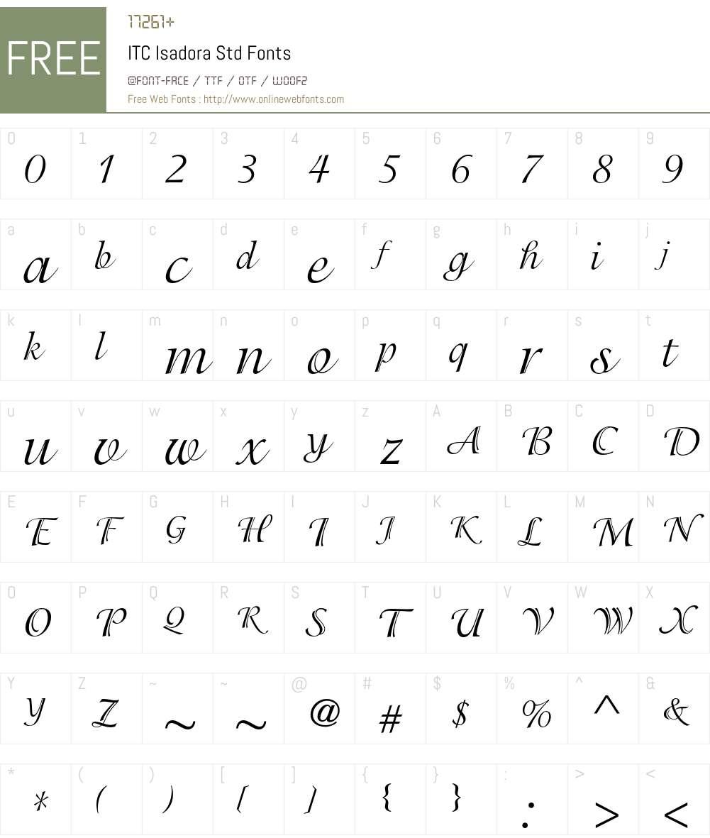 ITC Isadora Std Font Screenshots