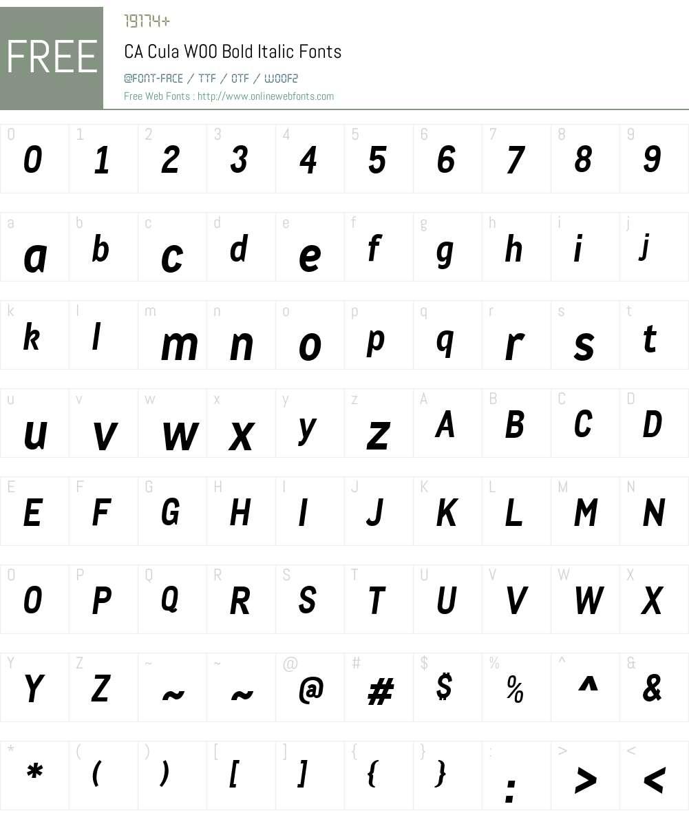 CACulaW00-BoldItalic Font Screenshots