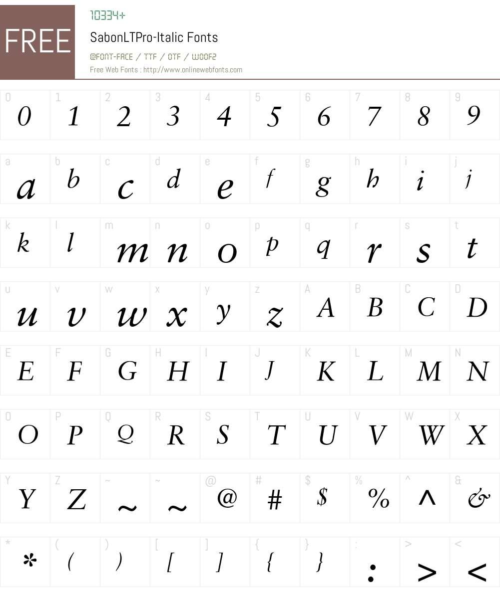 SabonLTPro-Italic Font Screenshots