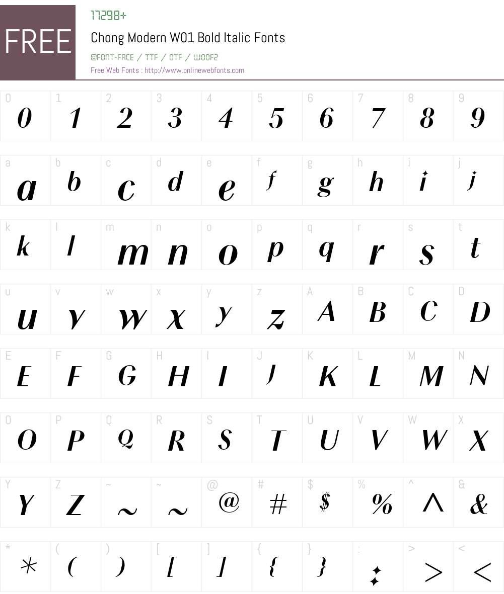 ChongModernW01-BoldItalic Font Screenshots