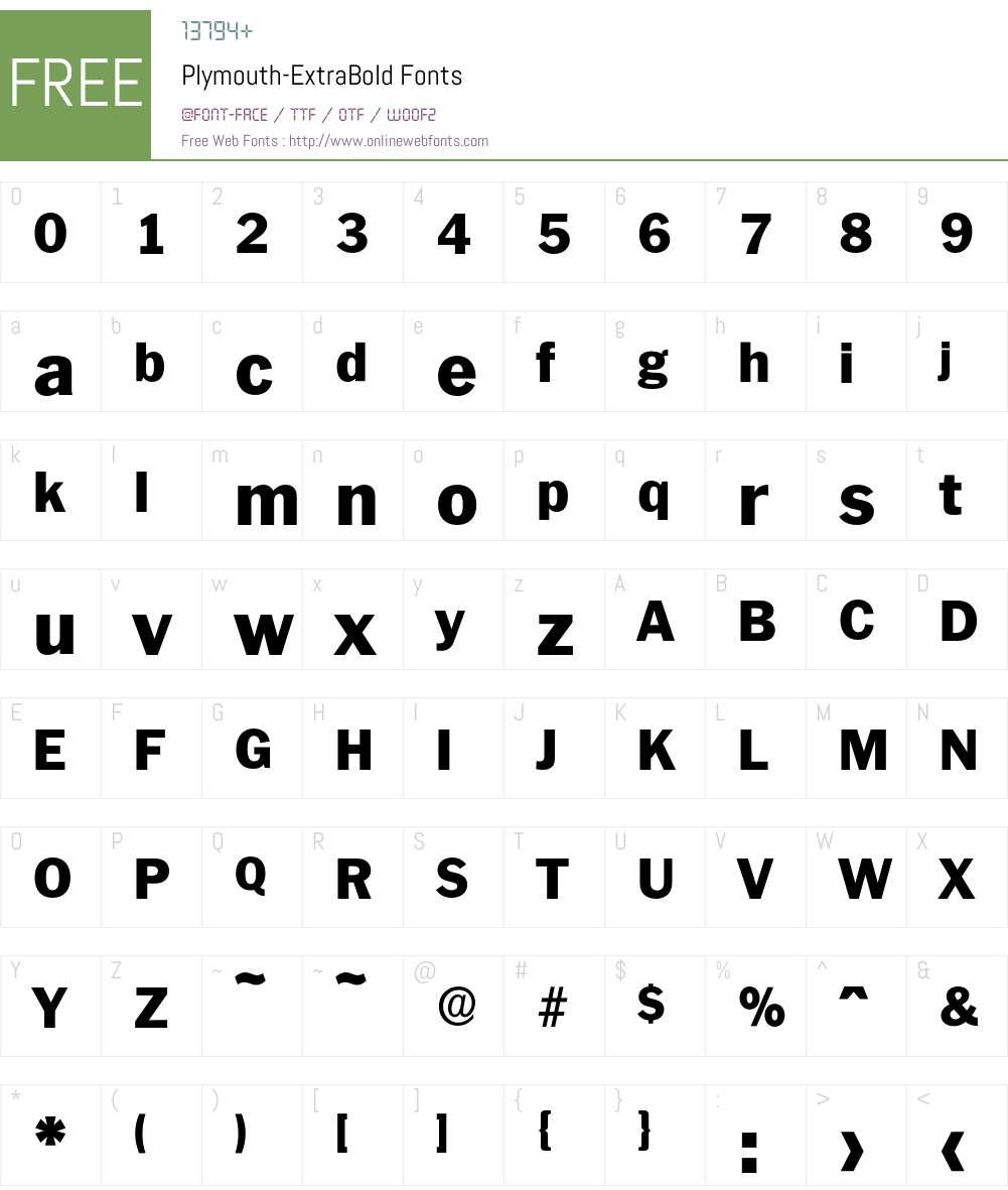 Plymouth-ExtraBold Font Screenshots