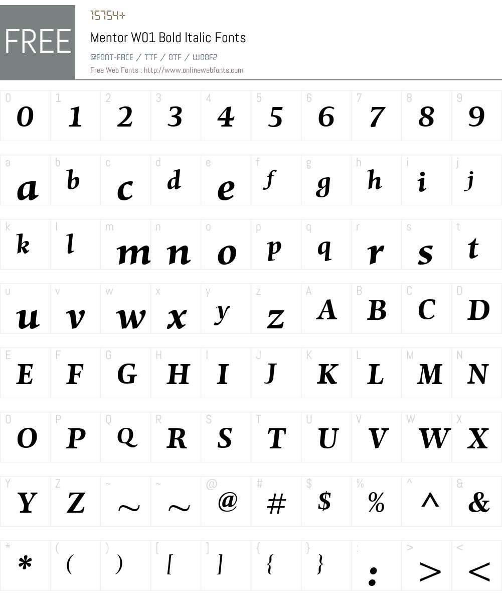 MentorW01-BoldItalic Font Screenshots