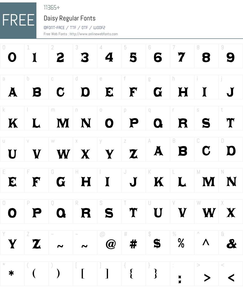Daisy Regular Font Screenshots
