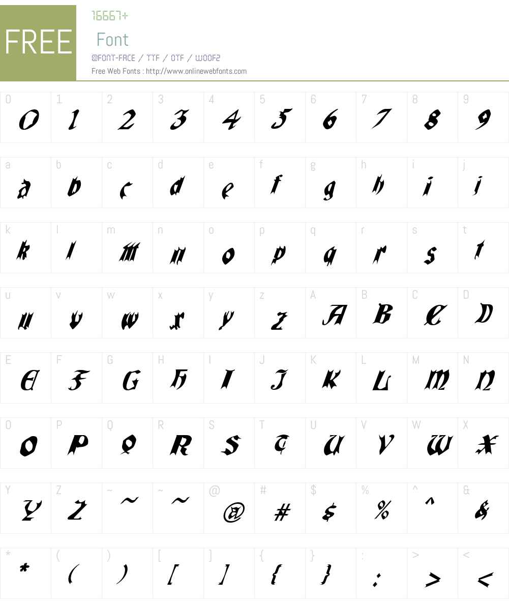 QuaelGothicItalicsCondensed Font Screenshots