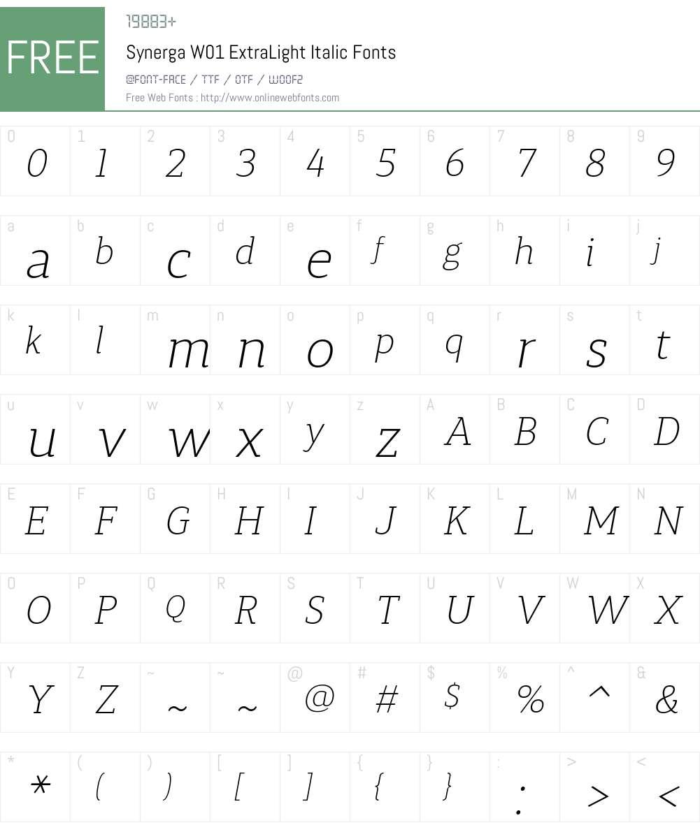 SynergaW01-ExtraLightItalic Font Screenshots