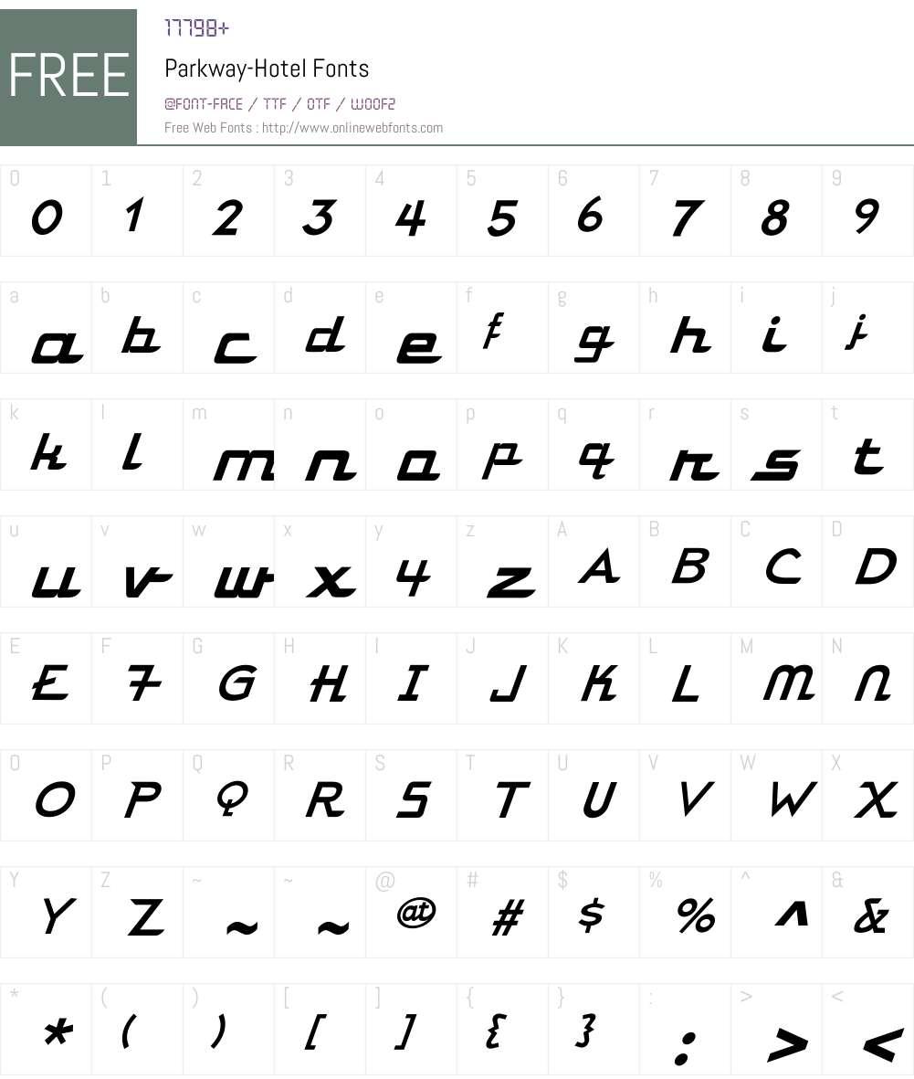 Parkway Font Screenshots