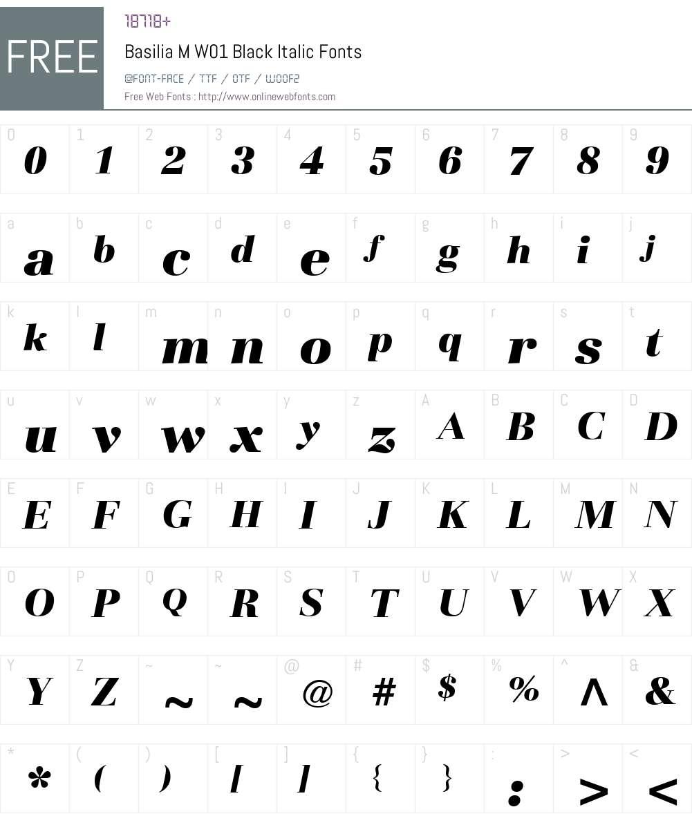 BasiliaMW01-BlackItalic Font Screenshots