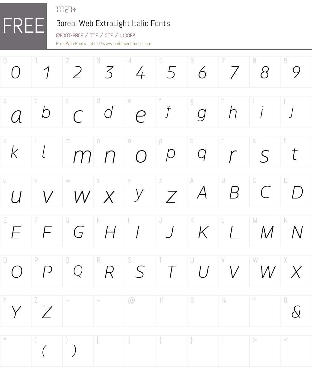 Boreal Web ExtraLight Font Screenshots