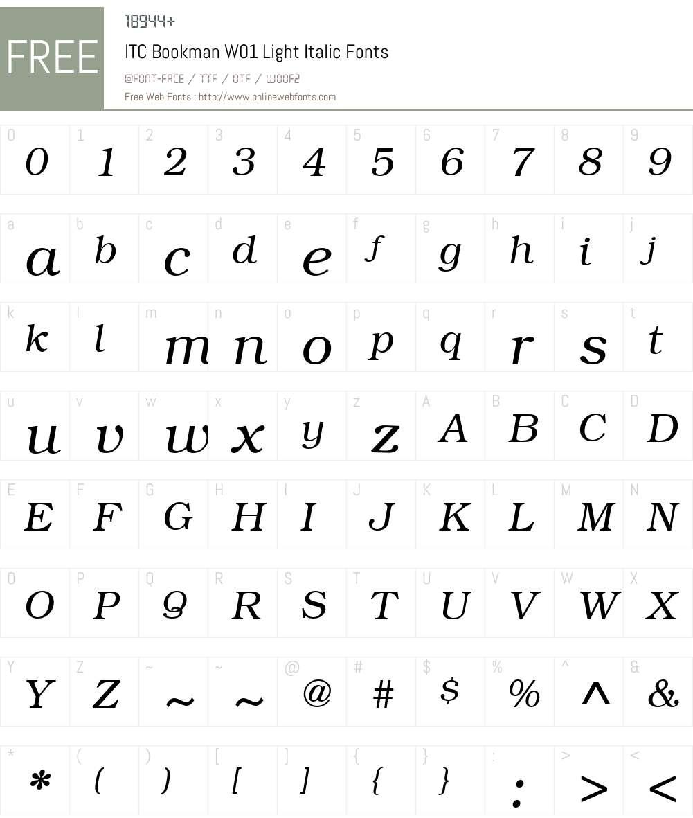 ITCBookmanW01-LightItalic Font Screenshots
