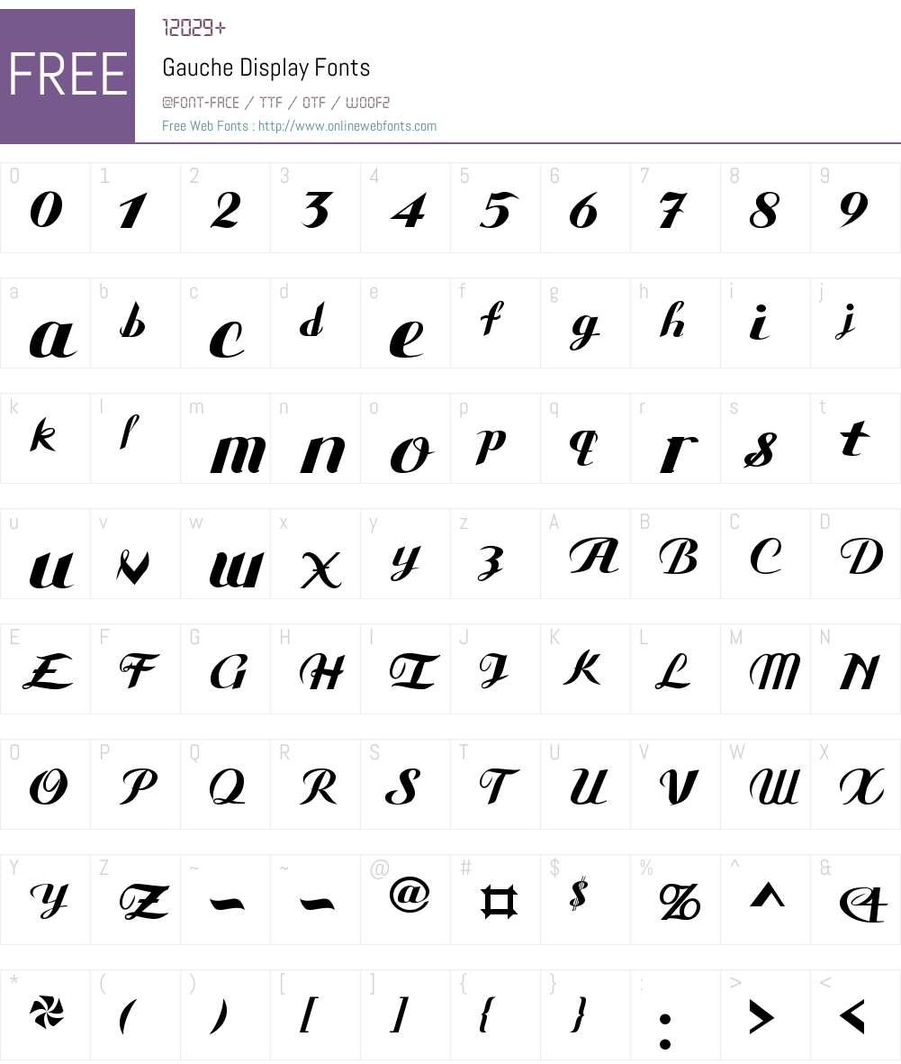 Gauche Display Font Screenshots