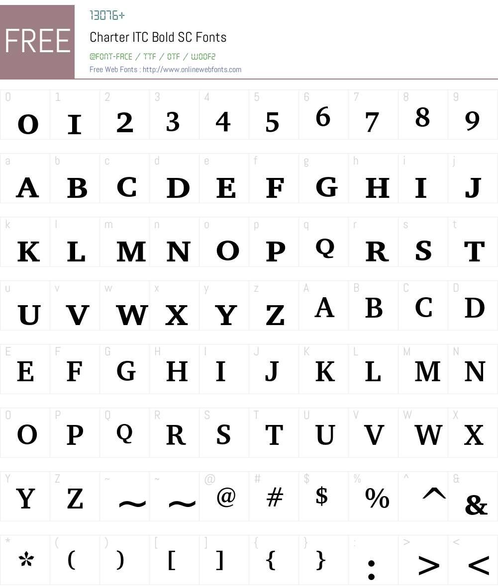 Charter ITC Font Screenshots