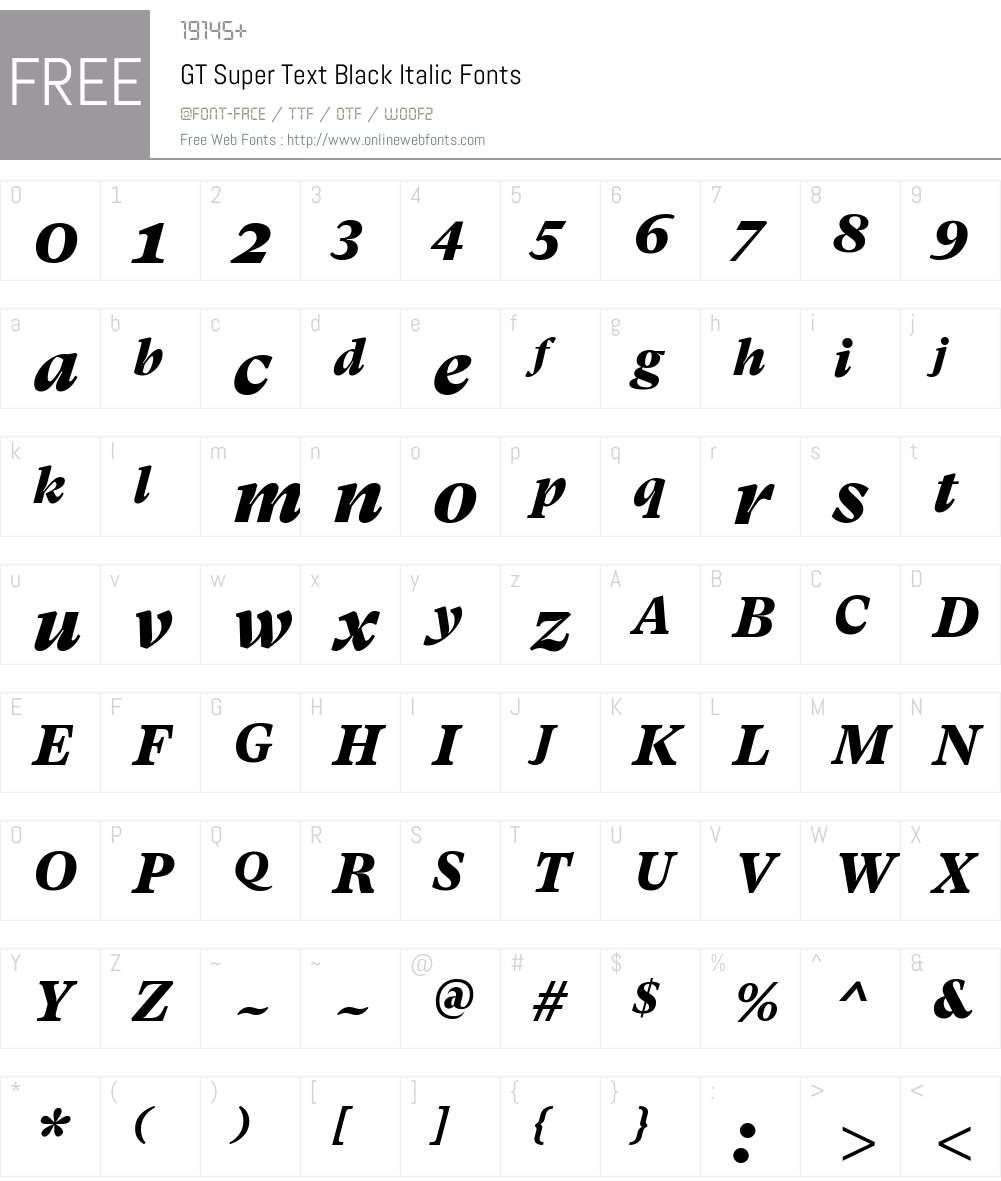 GT Super Text Black Font Screenshots