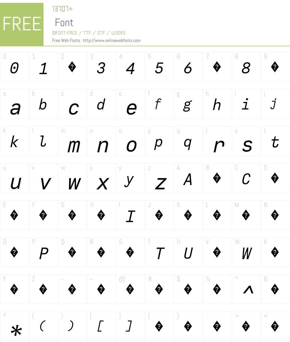CallingCode-Italic Font Screenshots