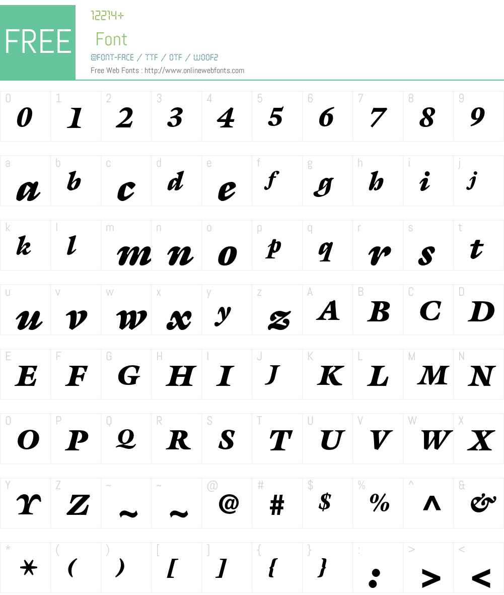 ITC Galliard Font Screenshots