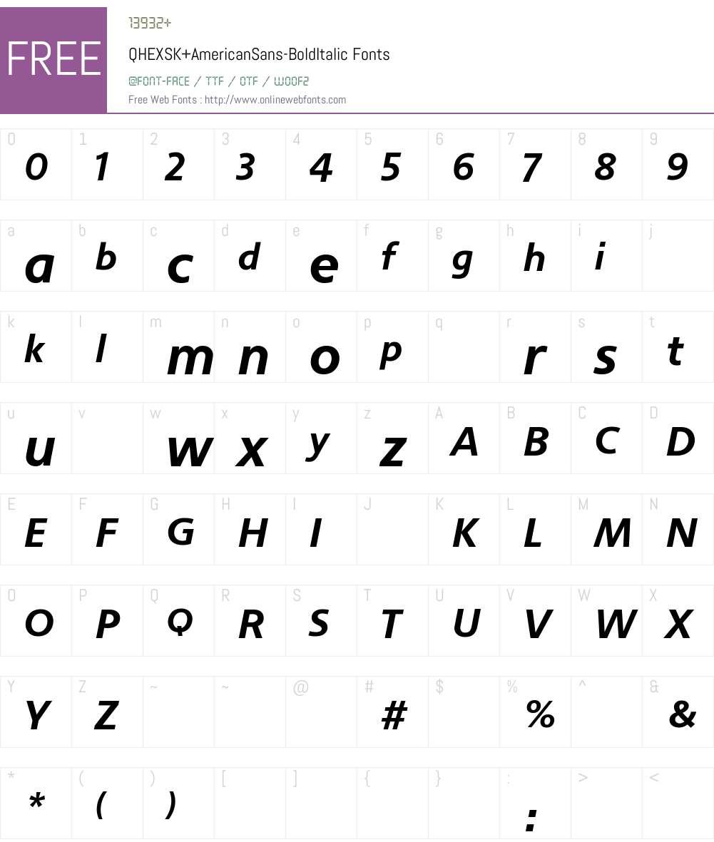 QHEXSK+AmericanSans-BoldItalic Font Screenshots