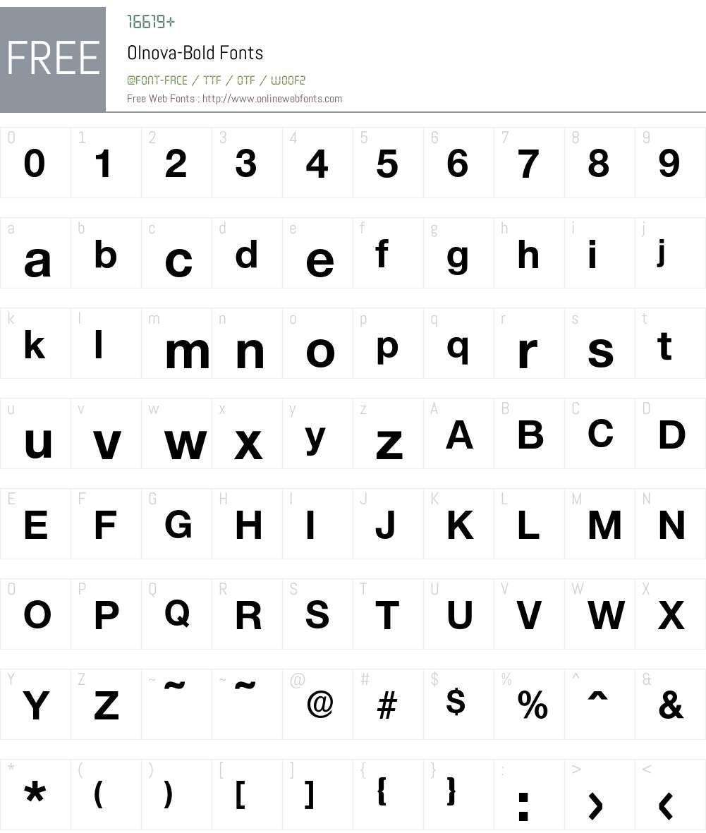 Olnova-Bold Font Screenshots