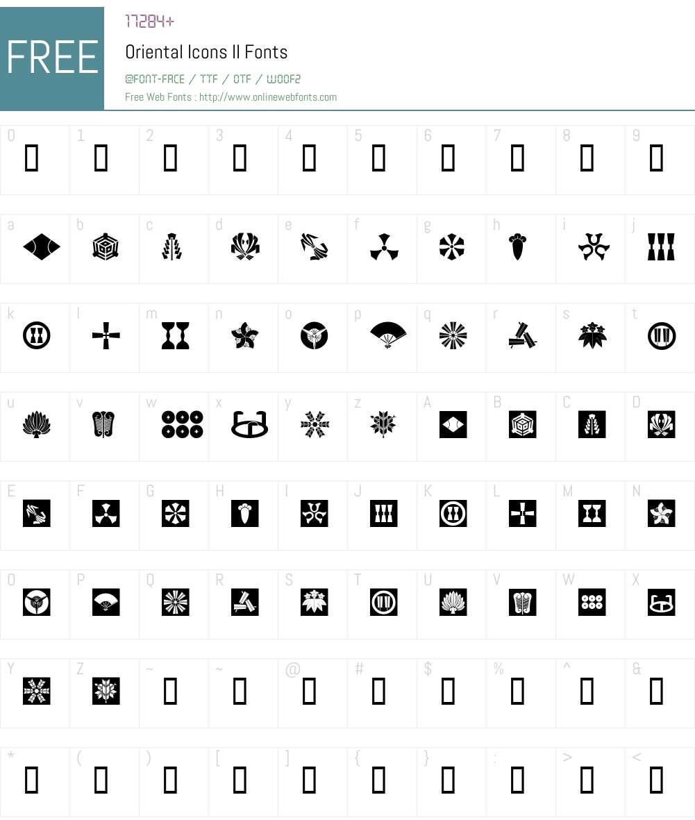 Oriental Icons II Font Screenshots