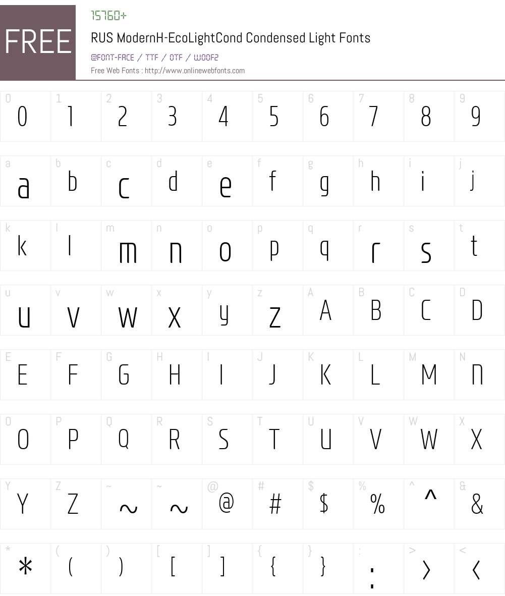 RUS ModernH-EcoLightCond Font Screenshots