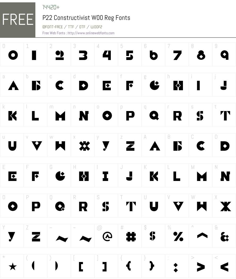 P22ConstructivistW00-Reg Font Screenshots