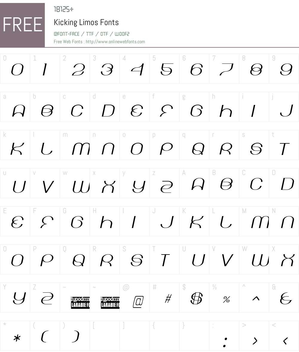 Kicking Limos Font Screenshots