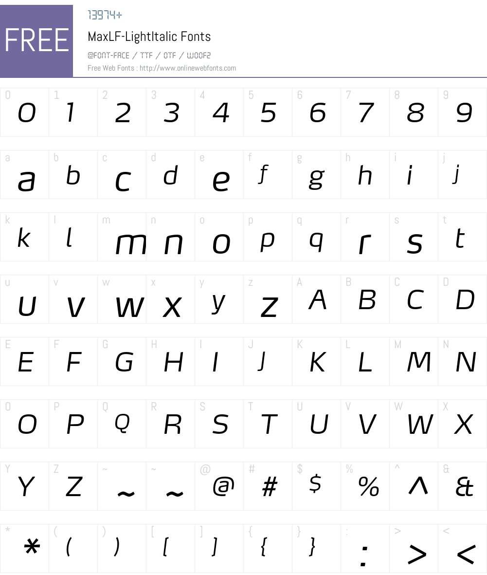MaxLF-LightItalic Font Screenshots