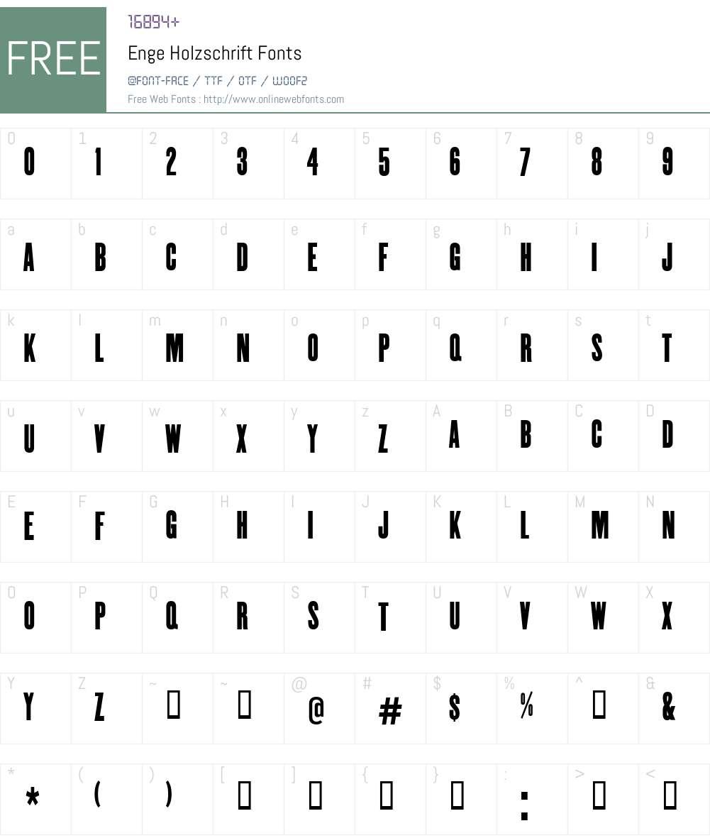 Enge Holzschrift Font Screenshots