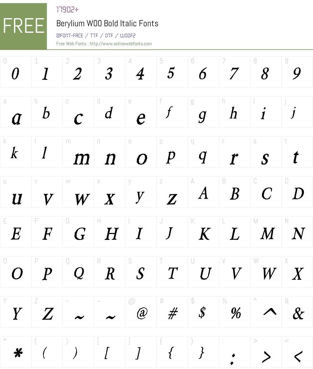BeryliumW00-BoldItalic Font Screenshots