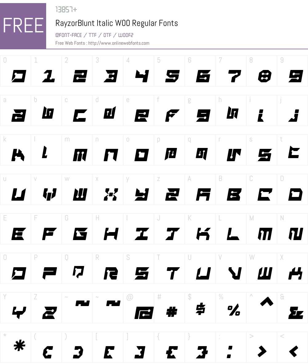RayzorBlunt Italic Font Screenshots
